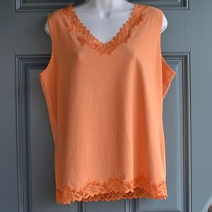 Orange Double Lace Tank by Coldwater Creek Sz. XL